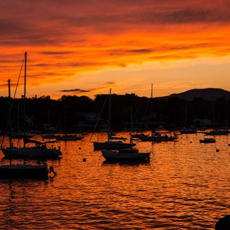 Rockport harbor at sunset photo