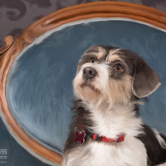 Digital painting of a terrier mix