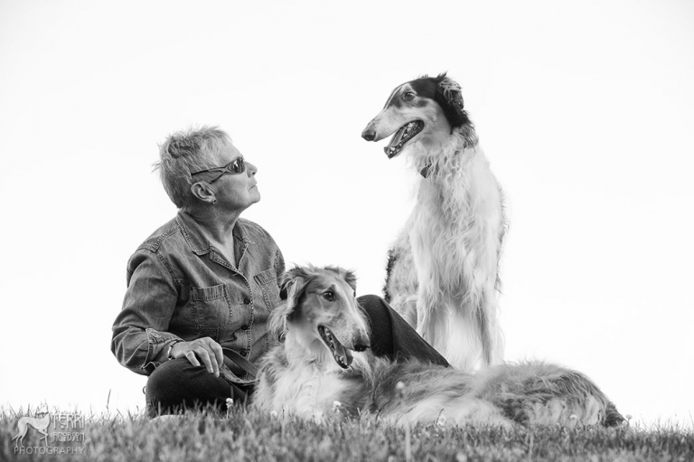 Woman and two dogs