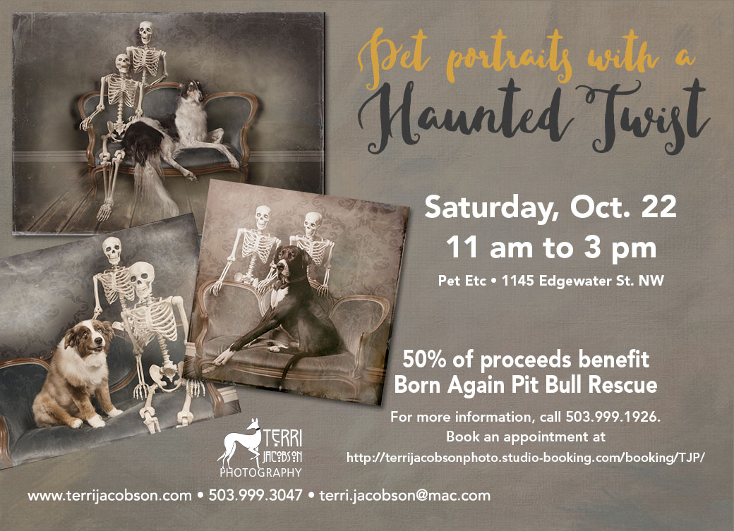 Just in time for Halloween. Pet portraits with a haunted twist