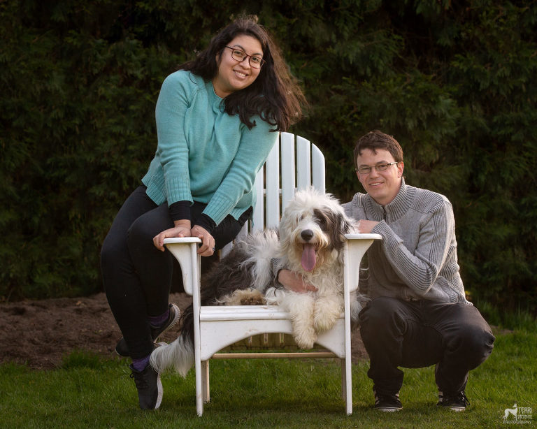 Family portrait with sheepadoodle